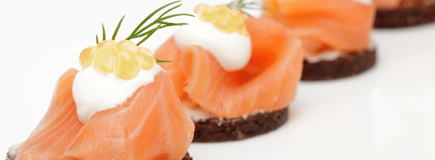 salmon with white wine pearls